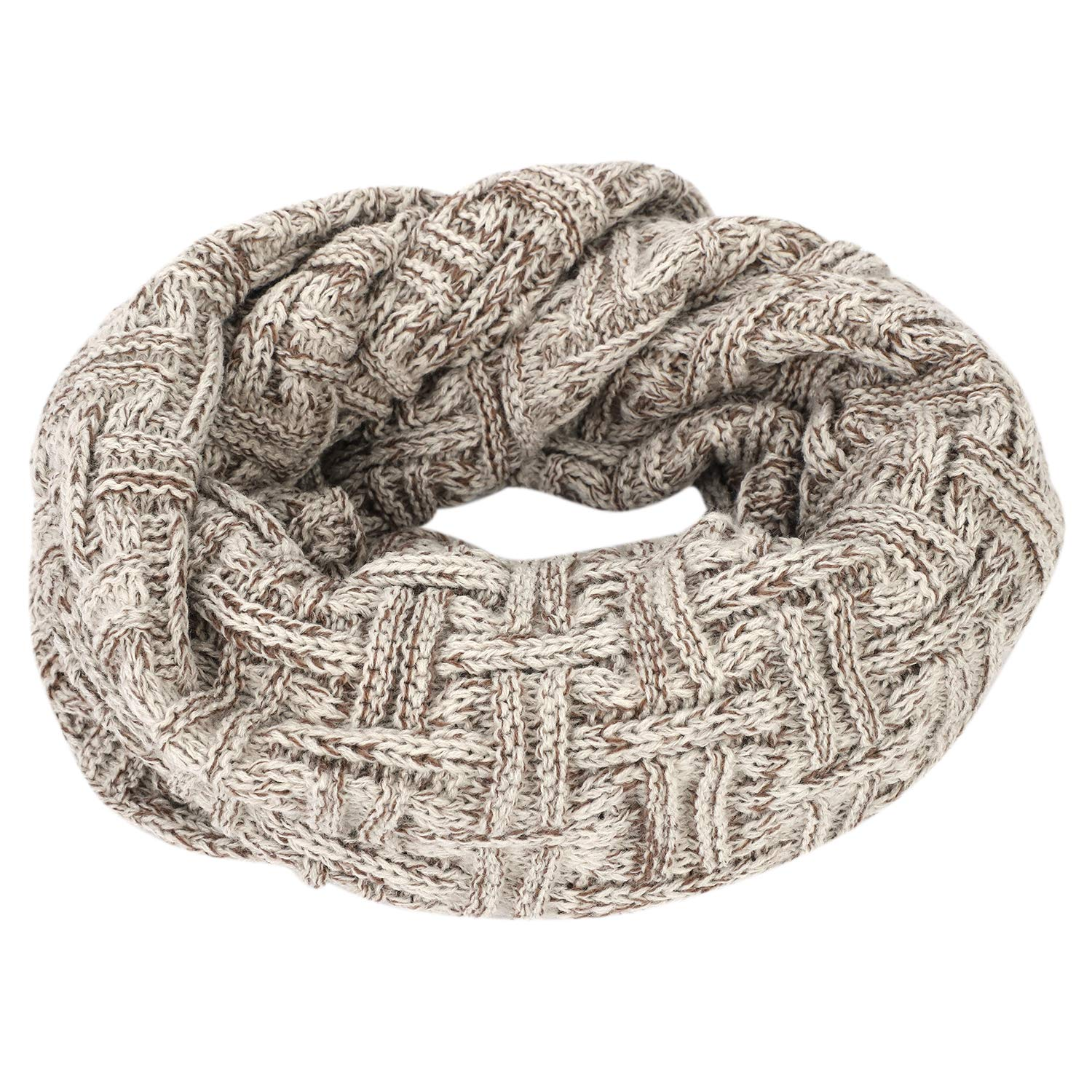 Beige Khaki Teens Youths Women Men Stylish Knit Infinity Scarf Allmatch Circle Loop Scarf Versatile Shawl Wrap Fashion Scarves
