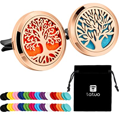 2 Pieces 316L Stainless Steel Car Aromatherapy Essential Oil Diffuser Air Freshener Vent Clip Locket with 48 Pieces Replacement Felt Pad (Tree Patterns-Rose Gold): Automotive