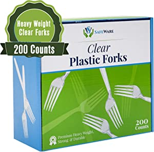 Safeware 200 Clear Plastic Forks, Heavy Duty, Disposable Utensil Silverware for Party, BBQ, Picnic, Family, Office, Restaurant