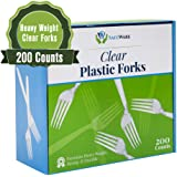 Safeware 200 Clear Plastic Forks, Heavy Duty, Disposable Utensil Silverware for Party, BBQ, Picnic, Family, Office…