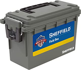 product image for Sheffield 12626 Field Box, Pistol, Rifle, or Shotgun Ammo Storage Box, Tamper-Proof Ammo Can with 3 Locking Options, Stackable and Water Resistant, Made in The U.S.A, Drab Olive Green