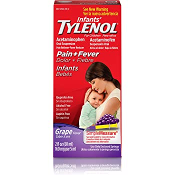 Infants' Tylenol Oral Suspension, Fever Reducer and Pain Reliever, Grape, 2 fl oz (Pack May Vary)