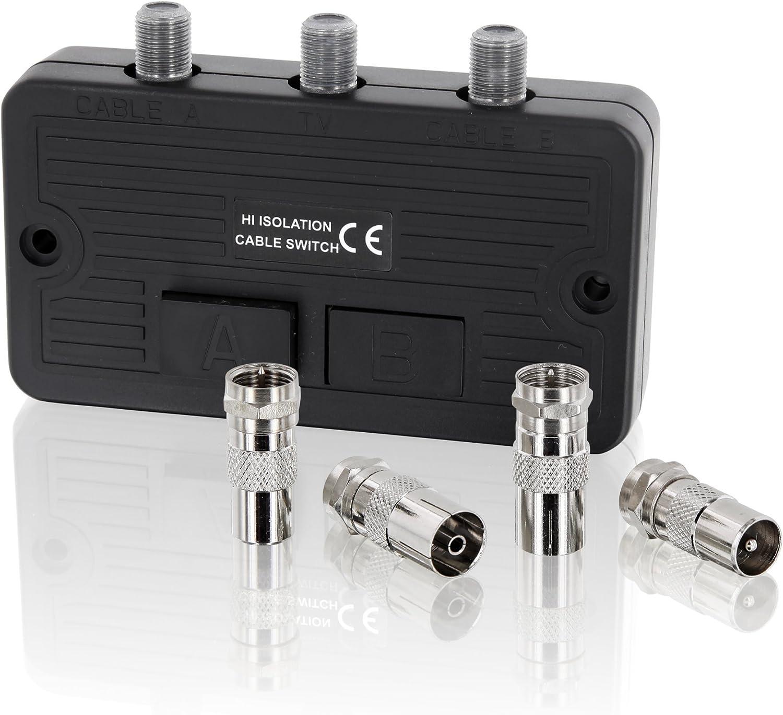 Conmutador distribuidor – Cable SAT TV DVB-T HD Digital HDTV 4 K UltraHD 3D – para sistemas de satélite y de satélite – 2 conectores F hembra – ...