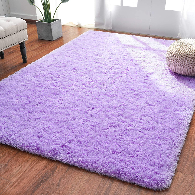 Amazon.com: Softlife Fluffy Bedroom Area Rugs 4 X 5.3 Feet Shaggy Nursery Rug For Girls Baby Kids Dorm Room Modern Home Decorative Plush Indoor Floor Carpet, Purple: Home & Kitchen