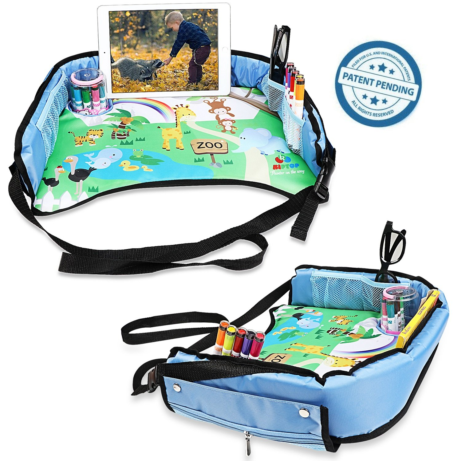 KIPTOP Toddler Car Seat Travel Tray Blue Soft and Sturdy Portable Lap Activity and Snack Desk for Cars Toy organzier Waterproof /& Durable Planes and Strollers