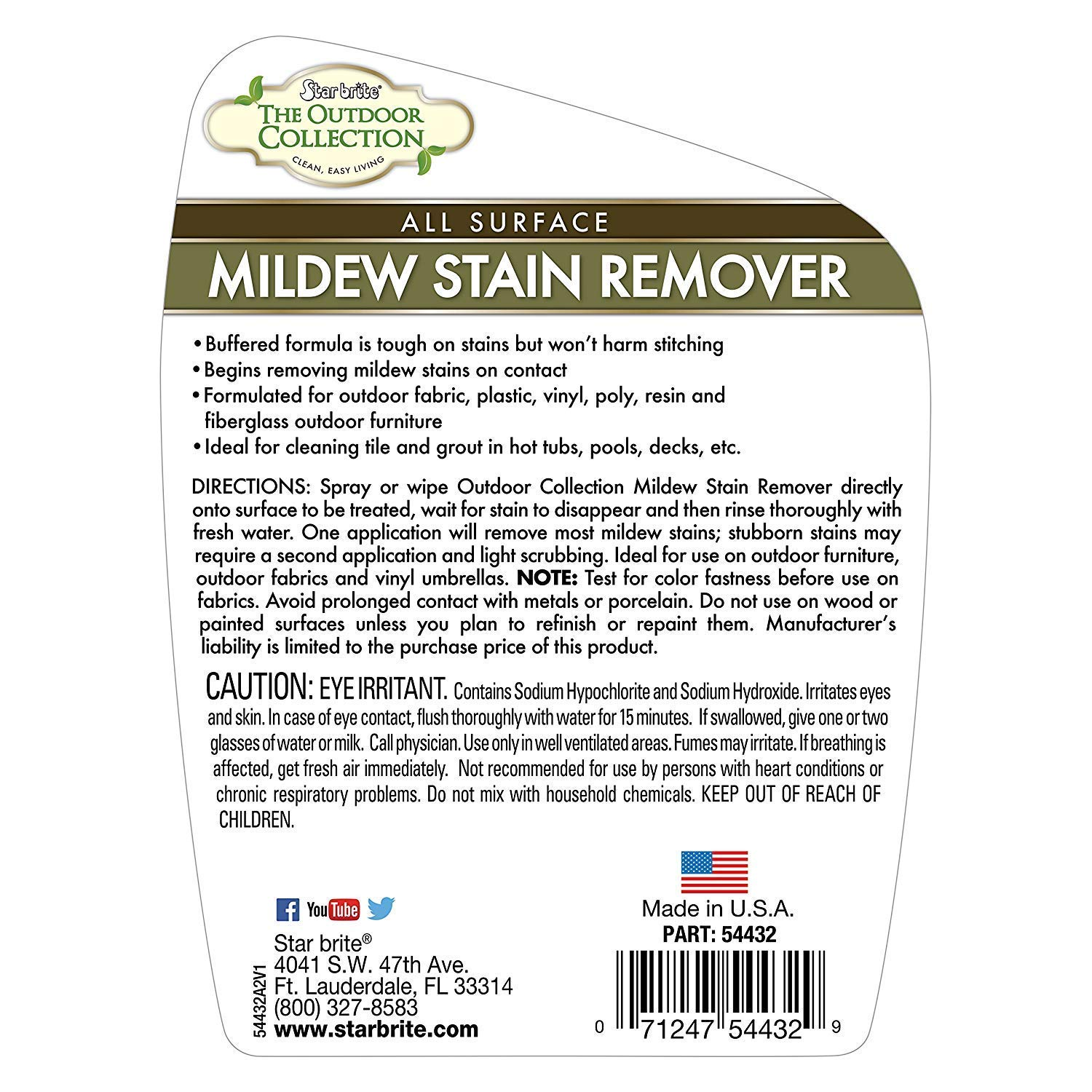 Star Brite Mildew Stain Remover All Surface Instant Cleaner 32 Oz Spray