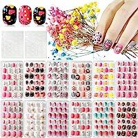 Kalolary 12 dozen Kinderen valse nagels, Druk op Pre-Glue Full Cover Valse nagels met 2 STUKS dubbelzijdige lijm…