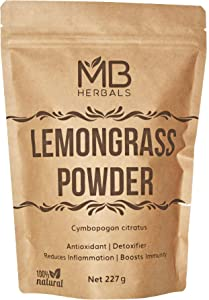 MB Herbals Lemongrass Powder 227 Gram | 8 oz/Half Pound | Lemon Grass Powder | Makes 75 Servings of Refreshing Lemongrass Tea