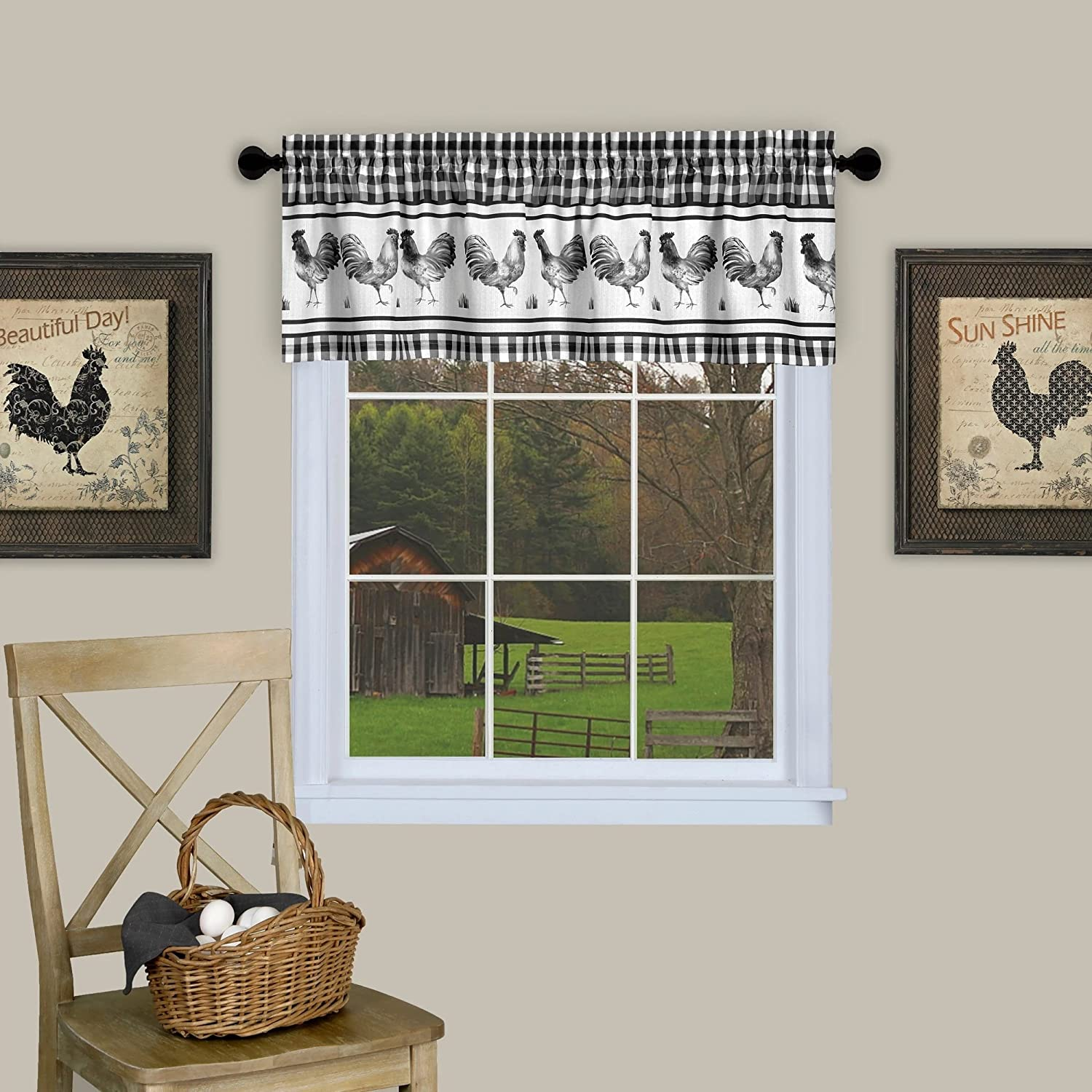 "Sweet Home Collection Window Treatment Kitchen Curtain Valance, 14"" H x 58"" W, Black"
