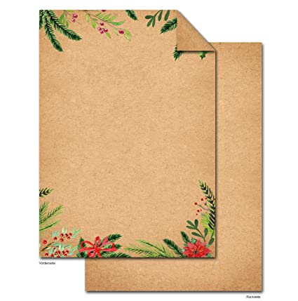 50 hojas de papel Navidad Rojo Verde natural papel de carta ...