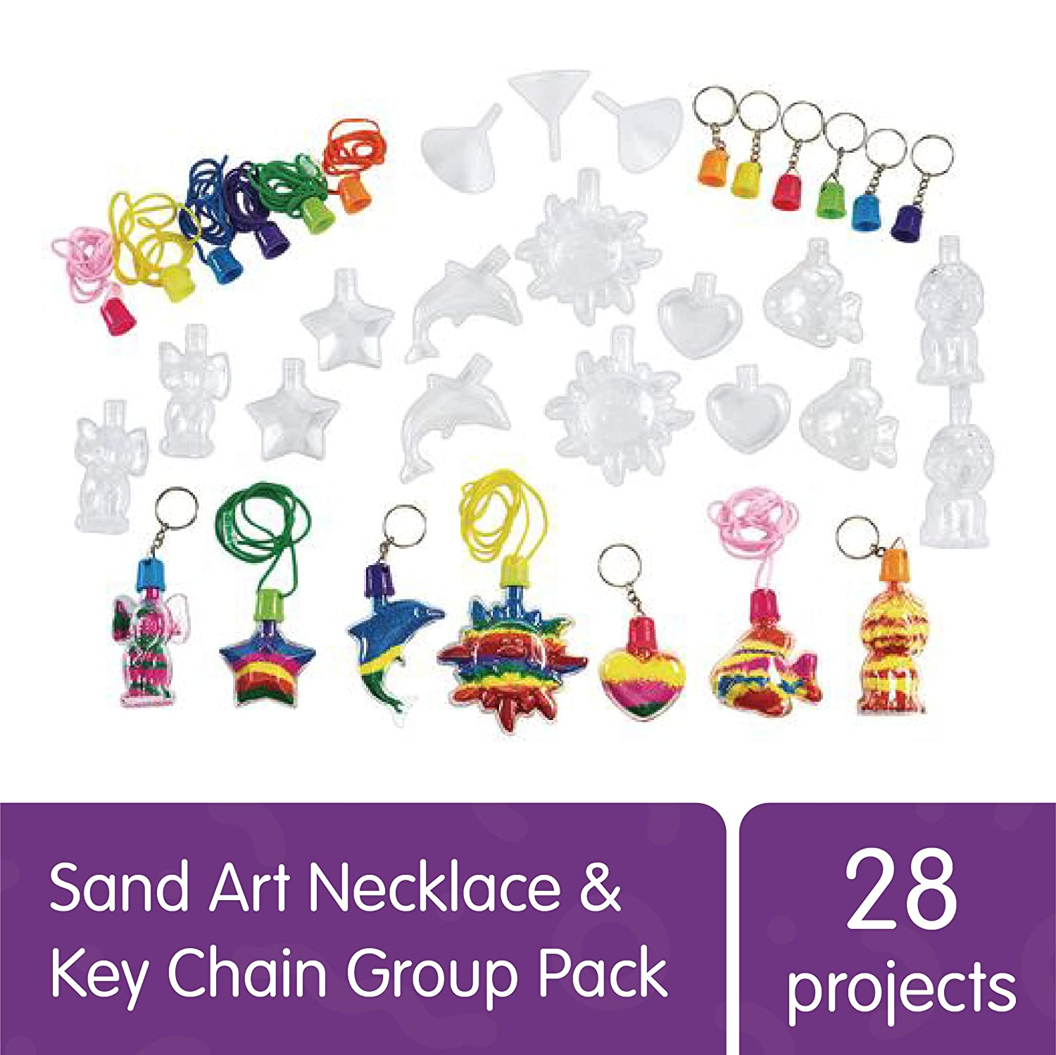 Colorations Sand Art Necklace & Key Chain Group Pack, 28 Projects, Gift, DIY, Arts & Crafts, for Kids, School, Home, Party Favors, Party Activity, VBS