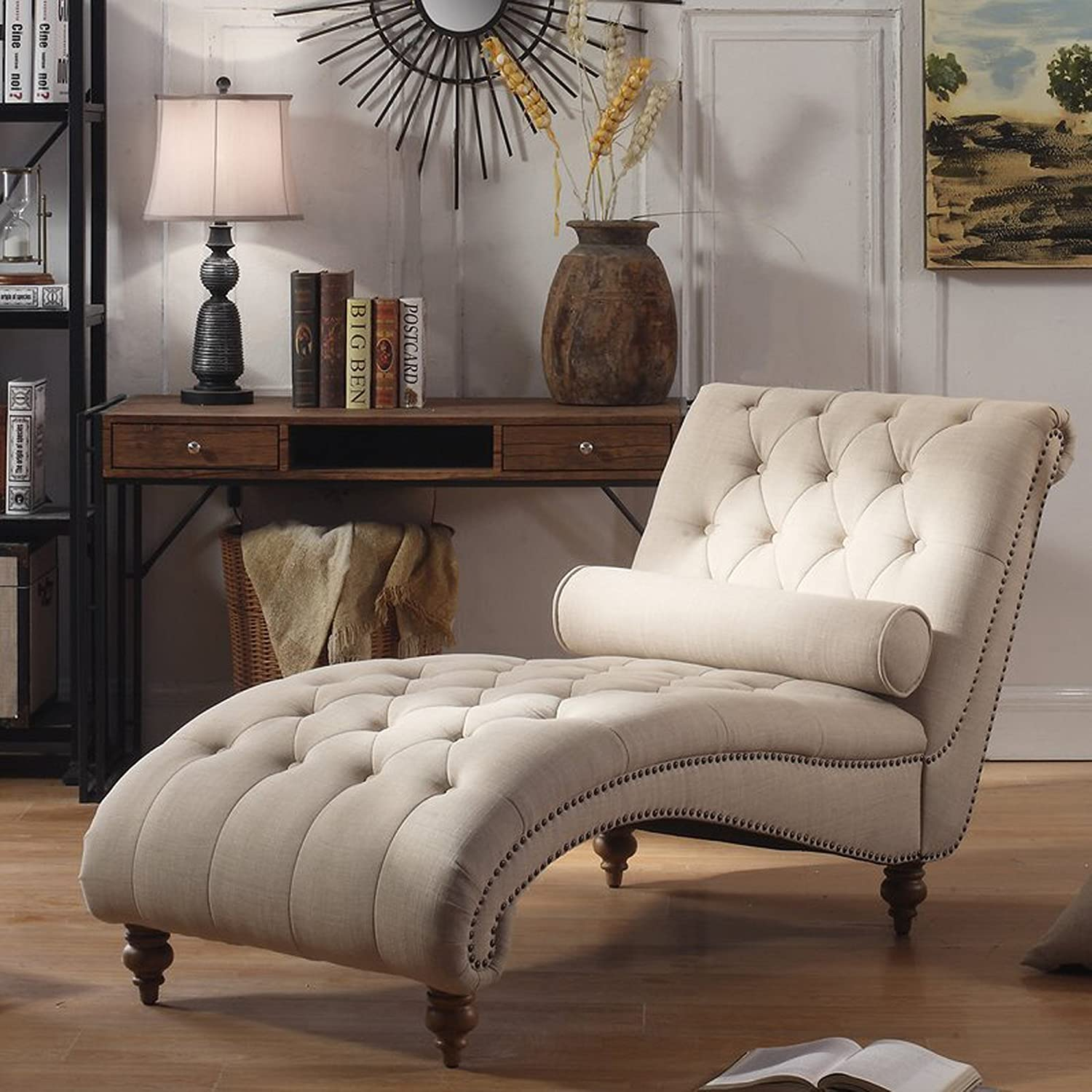 Ordinaire Amazon.com: Luxorious Indoor Chaise Lounge Chair   Contemporary Tufted  Living Room Lounge With Nailhead Trim And Accent Toss Pillow (Beige):  Kitchen U0026 ...