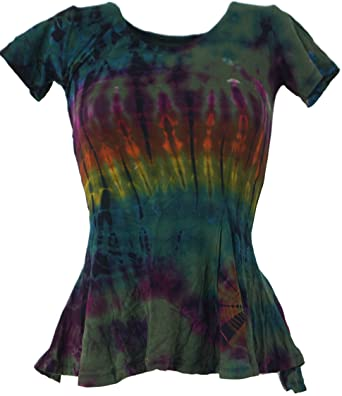 Batik T DamenGrünViskose Shop ShirtTie Dye Guru Goa b7gyYf6