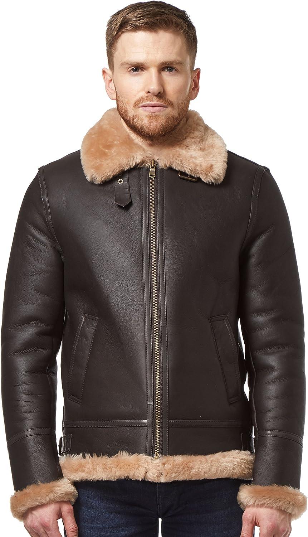 Mens B3 Shearling Sheepskin Jacket Brown//Ginger FUR WW2 100/% Real Leather Jacket