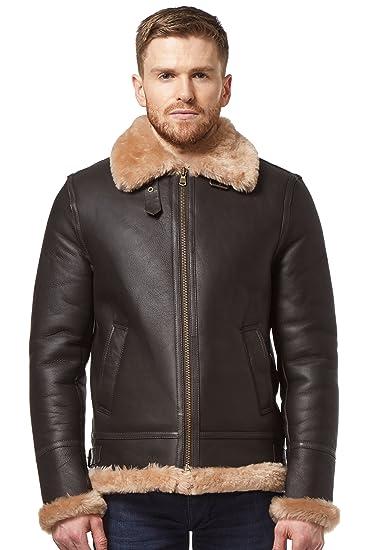 adfd31092 Men Real Sheepskin Leather Jacket Brown Beige Shearling Fur B3 World ...