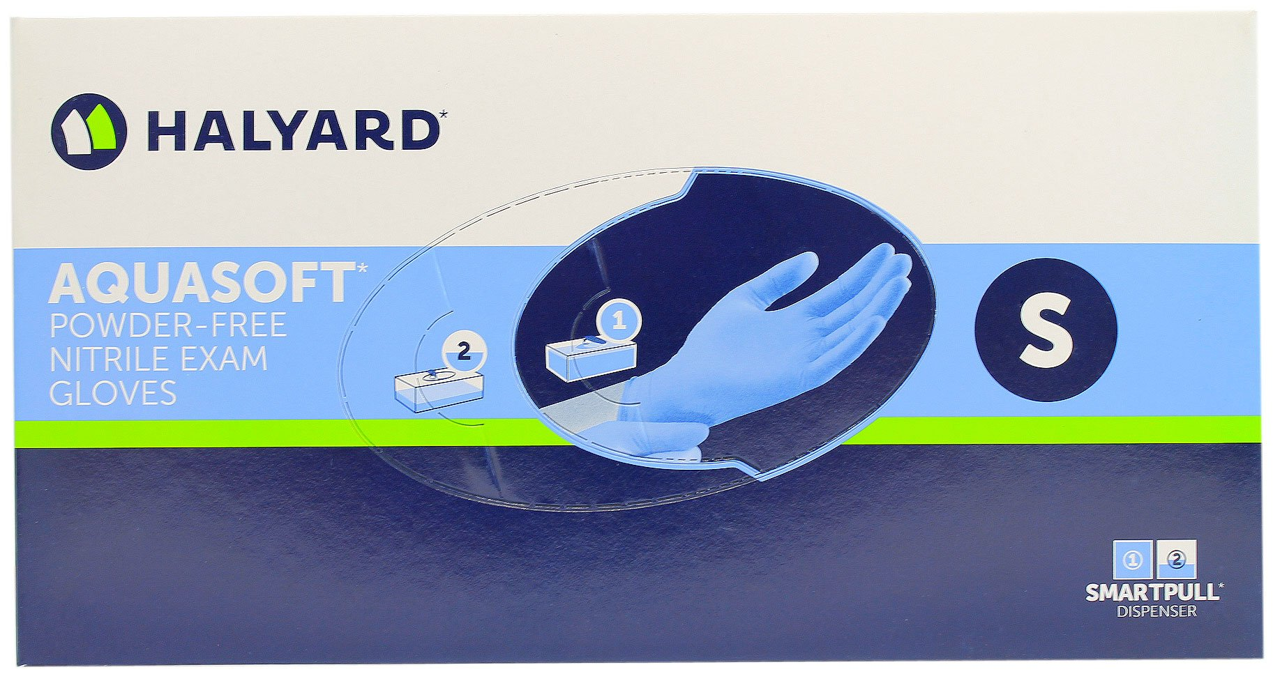 Halyard Health Aquasoft Nitrile Exam Glove - Powder Free - Small - Box of 300