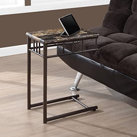 Gentil Monarch Specialties Bronze Metal And Cappuccino Marble Snack/End Table