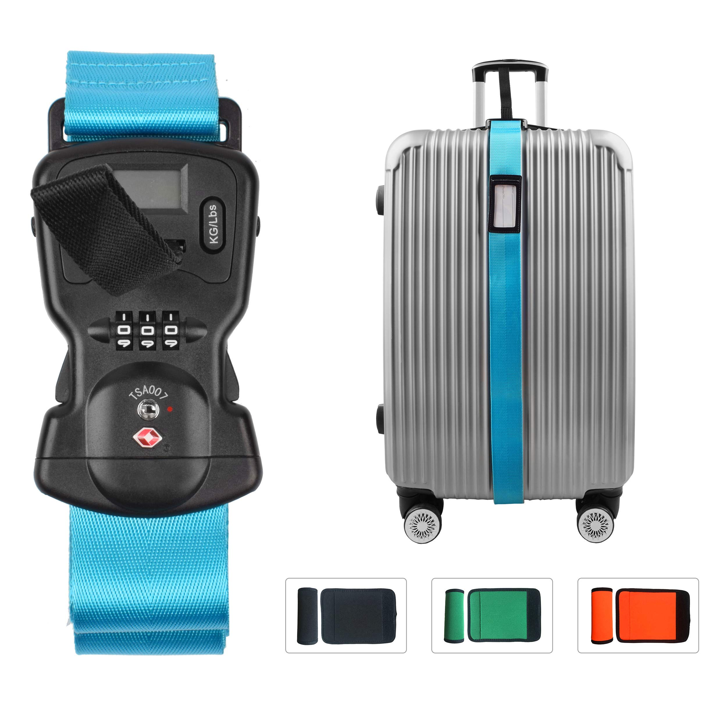 Smaior TSA approved luggage straps suitcase belts, baggage straps Electronic Scale Password Lock-Available in 3 colors