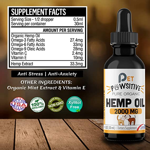 Pet Pawsitive - Hemp Oil Dogs Cats - 2000mg - Separation Anxiety, Joint  Pain, Stress Relief, Arthritis, Seizures, Chronic Pains, Anti-Inflammatory  -
