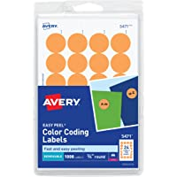 Avery Self-Adhesive Removable Labels, 0.75 Inch Diameter, Orange Neon, 1008 per Pack (5471)