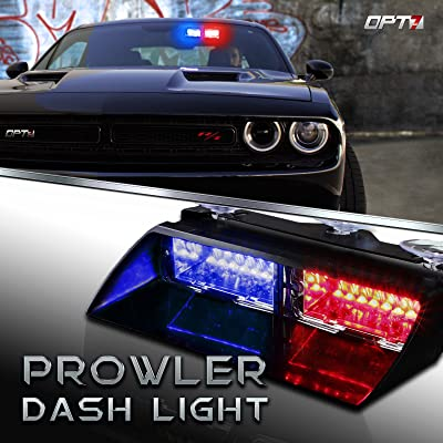 OPT7 Prowler Emergency Dash Light, 16 Daytime Visible LEDs Police Light, 18 Strobe Patterns for Law Enforcement, Warning, First Response, Fire, Security, and Traffic Control, Red & Blue: Automotive [5Bkhe0110163]