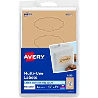 "Avery Multi-Use Labels, Kraft Brown Oval Scroll 1-1/8"" x 2-1/4"", Pack of 24 (40151)"