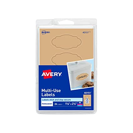 amazon com avery multi use labels kraft brown oval scroll 1 1 8