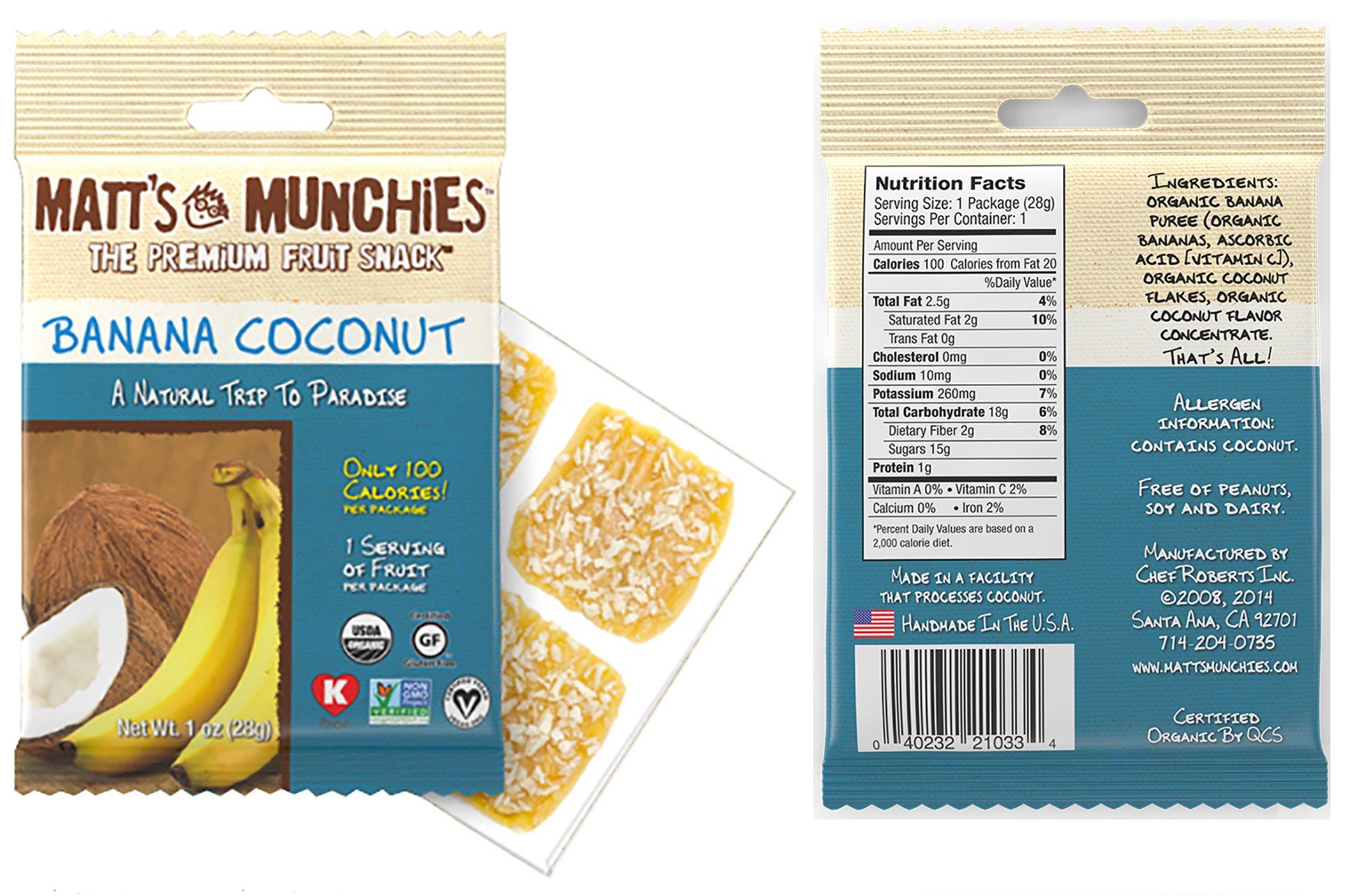 Matt's Munchies Tropical Assortment Organic Non-GMO Fruit Leather Peelable Fruit Snacks 25 Count Variety Pack Caddy - Mango, Island Mango, Tropical Punch, Banana Coconut & Apple by Matt's Munchies (Image #3)