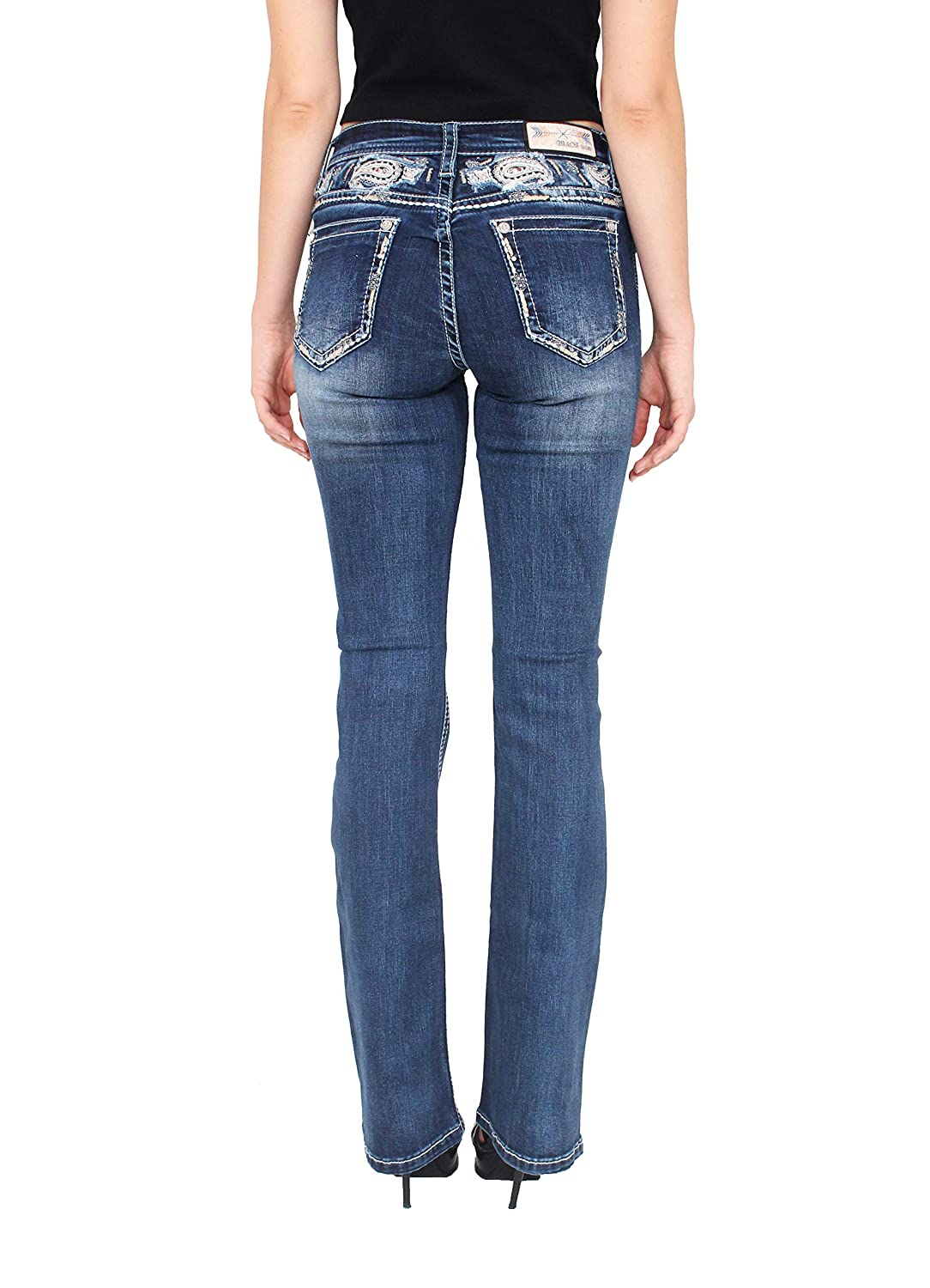 Grace in LA Women Easy Fit Floral Embellished Faded Bootcut Jeans with Paisley Yoke