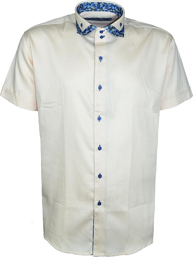 Dontali - Camisa Casual - para Hombre Beige Beige Claro Small: Amazon.es: Ropa y accesorios