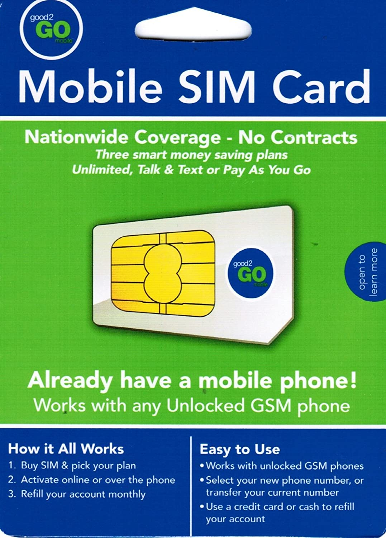 Amazon com: Good2go Mobile SIM Card for Unlimited Talk