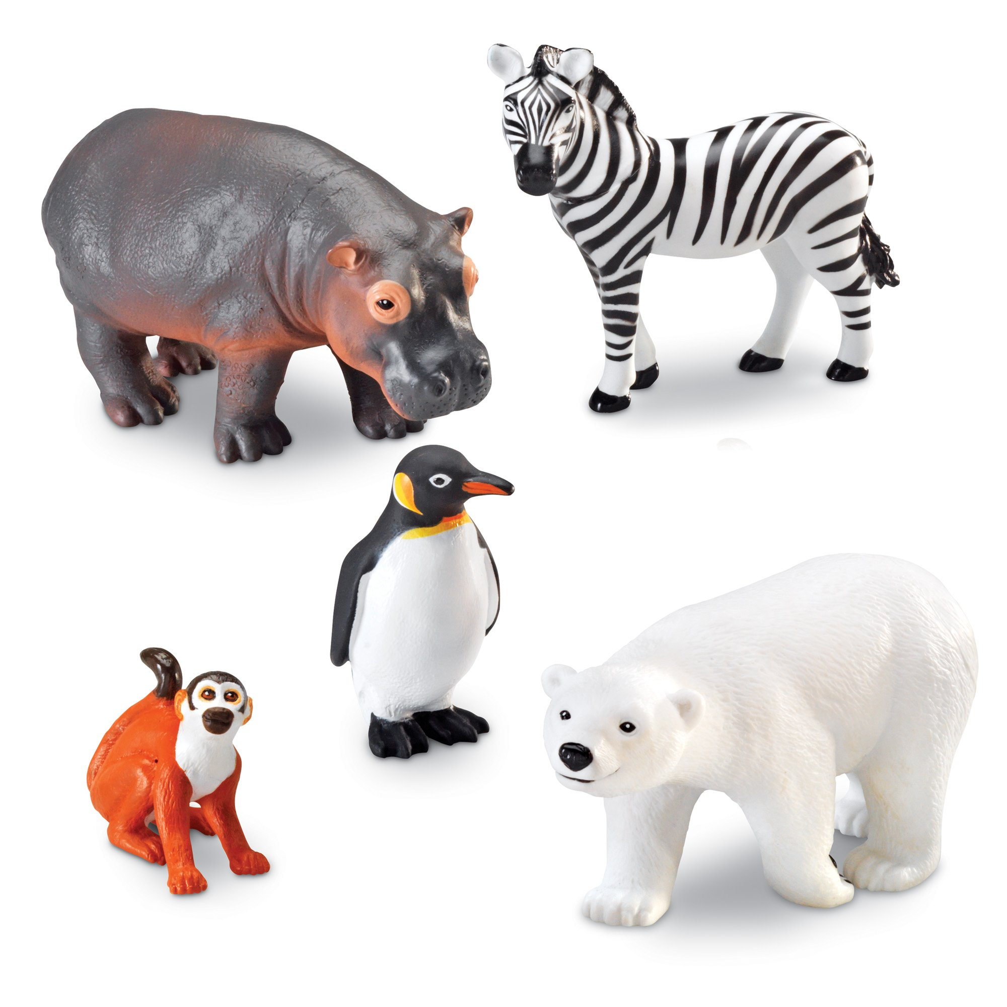 Learning Resources Jumbo Zoo Animals, Monkey, Penguin, Zebra, Polar Bear, and Hippo, 5 Animals, Ages 2+