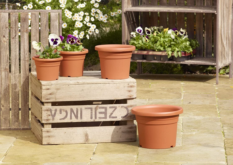 Flower Pot Plant Pot greemotion Small Garden Pots Fiona Plastic Plant Pot Terracotta Flower Pots Garden Planter 15 cm Flower Pot Round Plastic Plant Pot