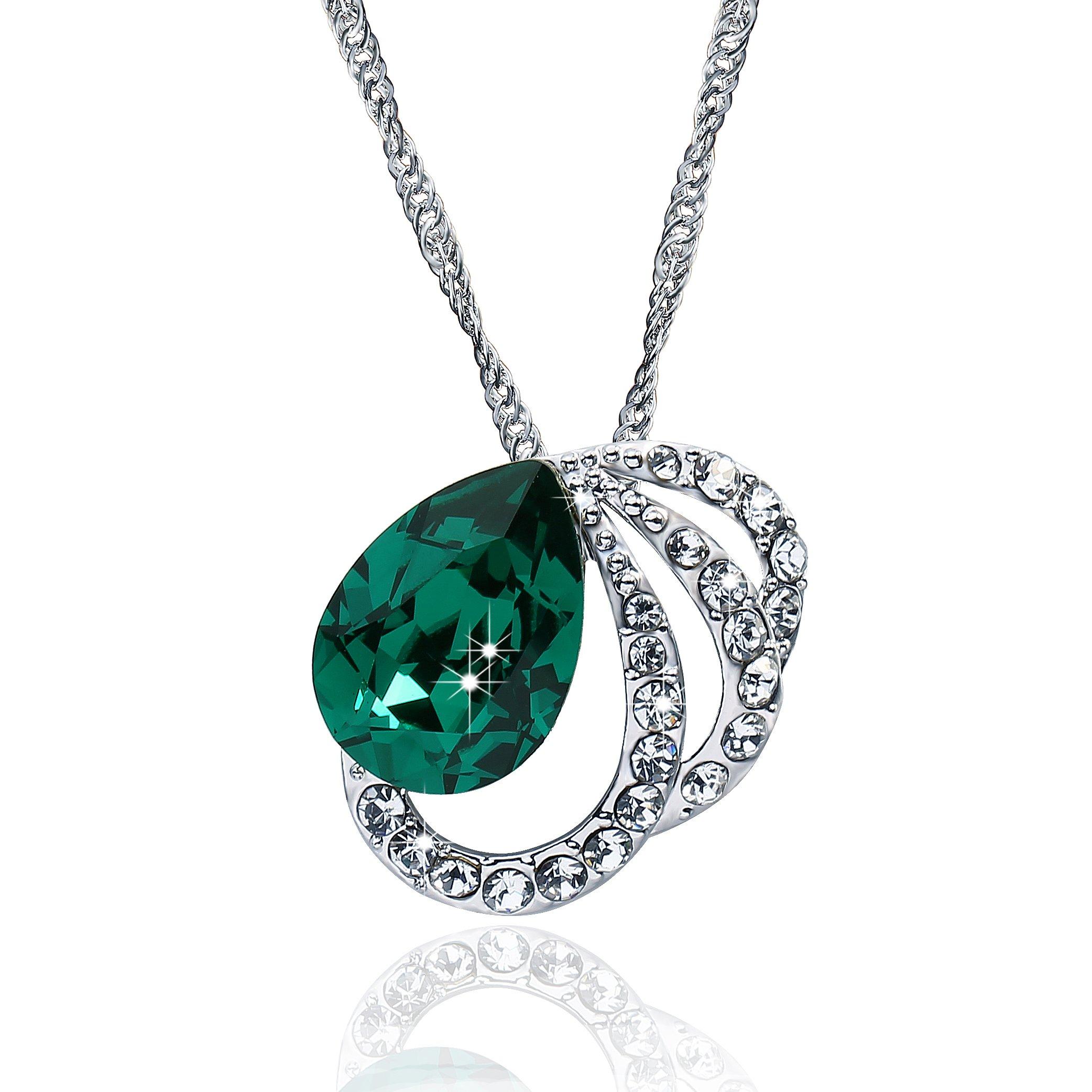 Vancona 1920 Style Wedding Jewelry Green Stone Pendant Necklace with Swarovski Elements