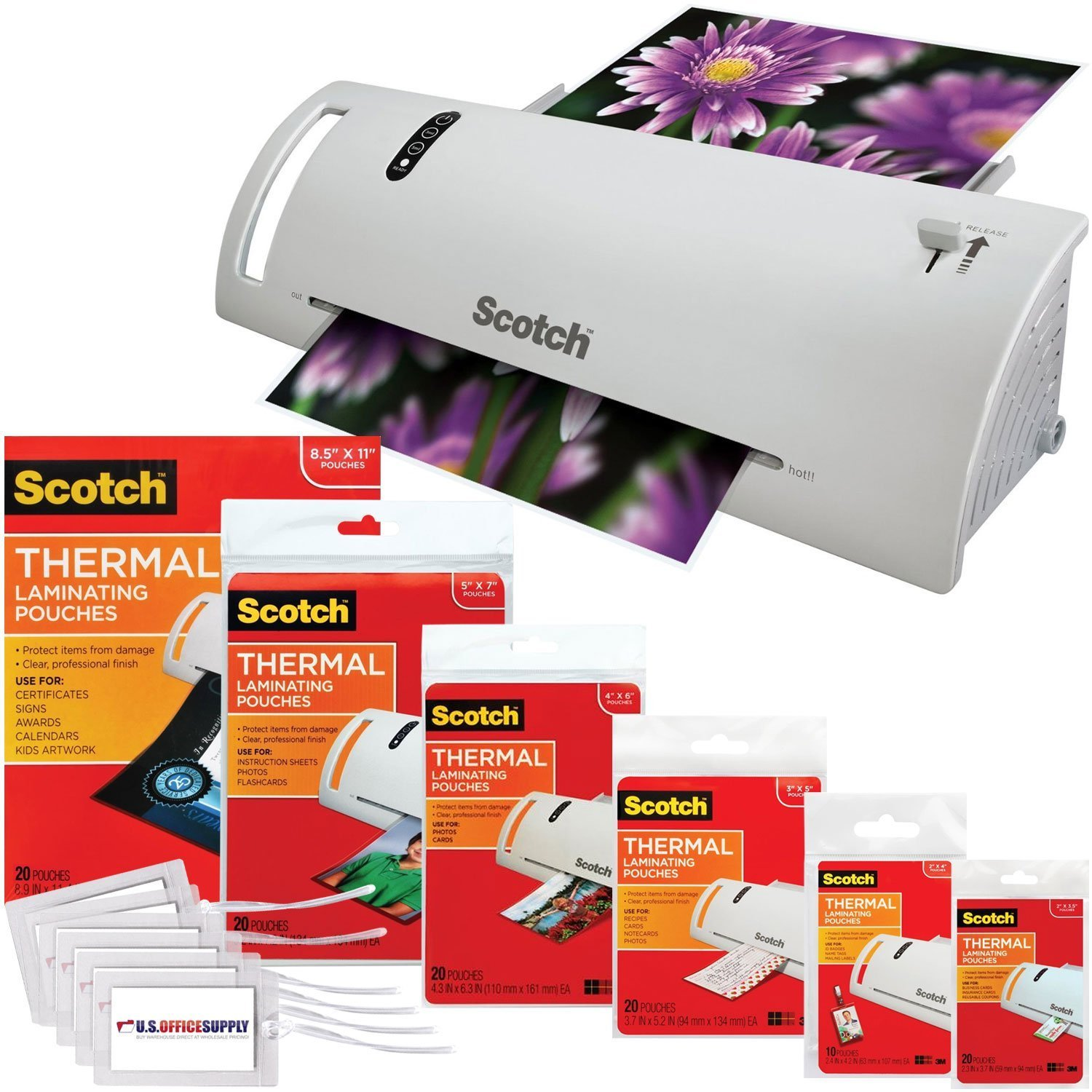 Scotch Thermal Laminator 14.75 x 4.75 x 3.75 Inches (TL902A) Combo Pack with 110 Assorted Pouch Sizes and Scotch Brand Luggage Tags