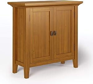 SIMPLIHOME Redmond SOLID WOOD 32 inch Wide Rustic Low Storage Cabinet in Light Golden Brown, with 2 Doors, 2 Adjustable Shelves
