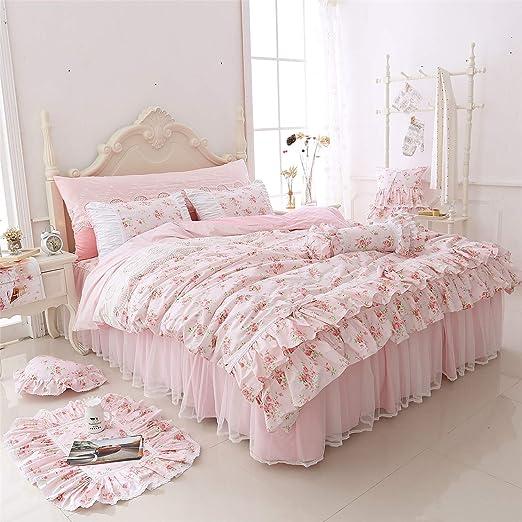 Amazon.com: LELVA Romantic Roses Print Duvet Cover Set with Bed