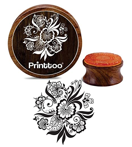 Printtoo Round Wooden Rubber Stamp Floral Mandala Pattern Craft Textile Stamps-2 Inch