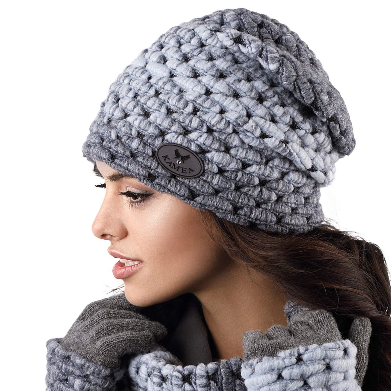 Kamea Ombre Dame Mütze Kopfbedeckung Wintermütze Dunkelblau Uni
