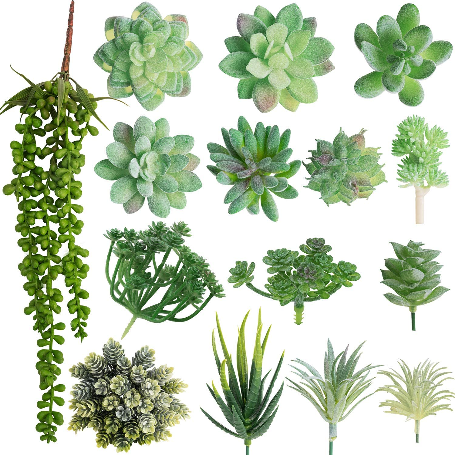 MoonLa Artificial Succulent Plants Assorted 15Pcs Textured Faux Succulent Picks Unpotted Fake Succulent Plants Faux Aloe Cactus String of Pearls Succulent Echeveria Agave Floral Arrangement Accent