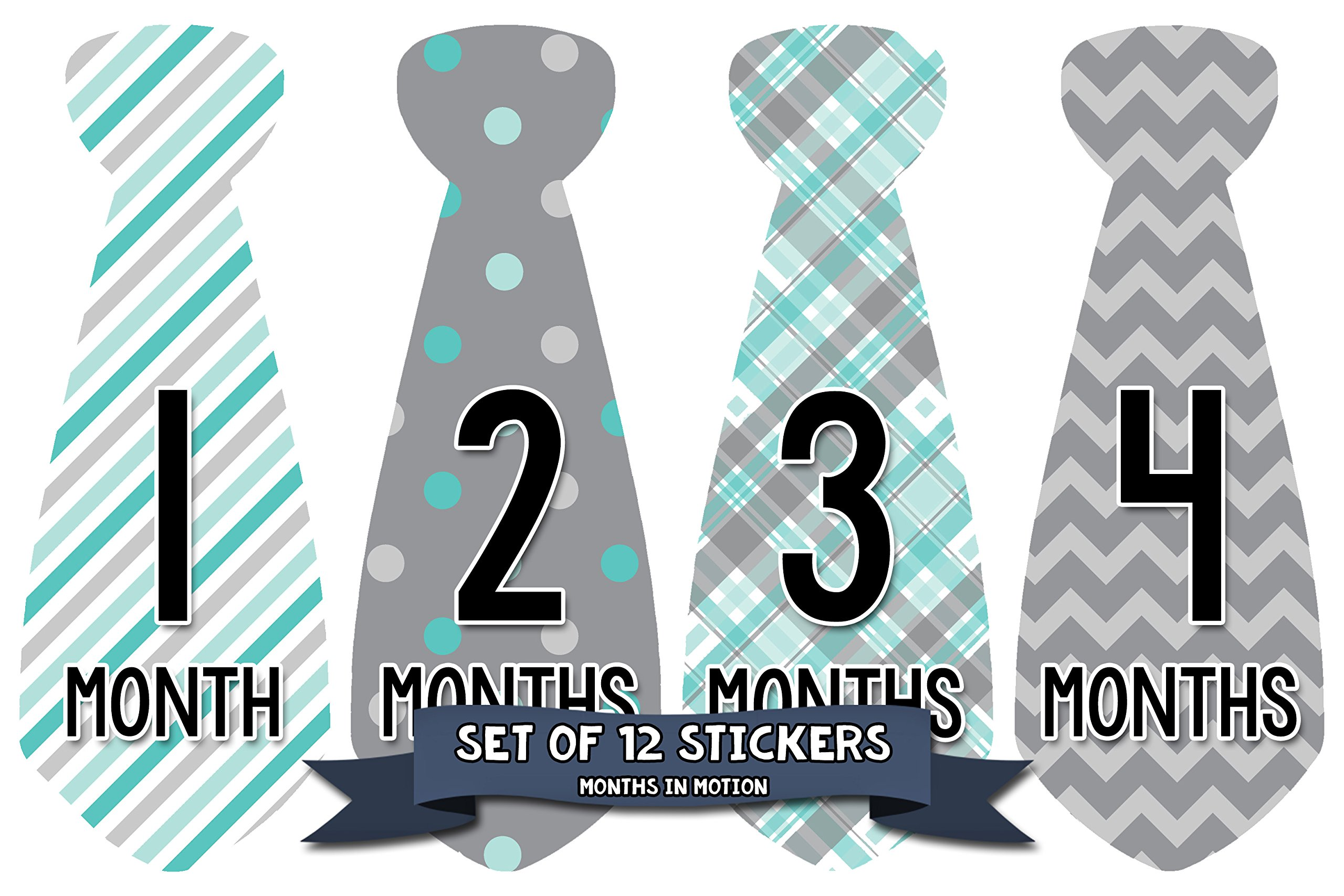 Months in Motion 712 Monthly Baby Stickers Necktie Tie Baby Boy Months 1-12 by Months In Motion