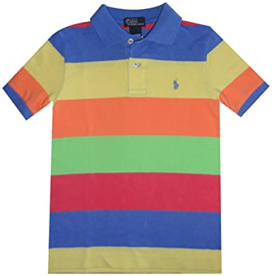d523591b Image Unavailable. Image not available for. Color: RALPH LAUREN Boy's Polo  Shirt Multi-Colored with Blue Pony ...
