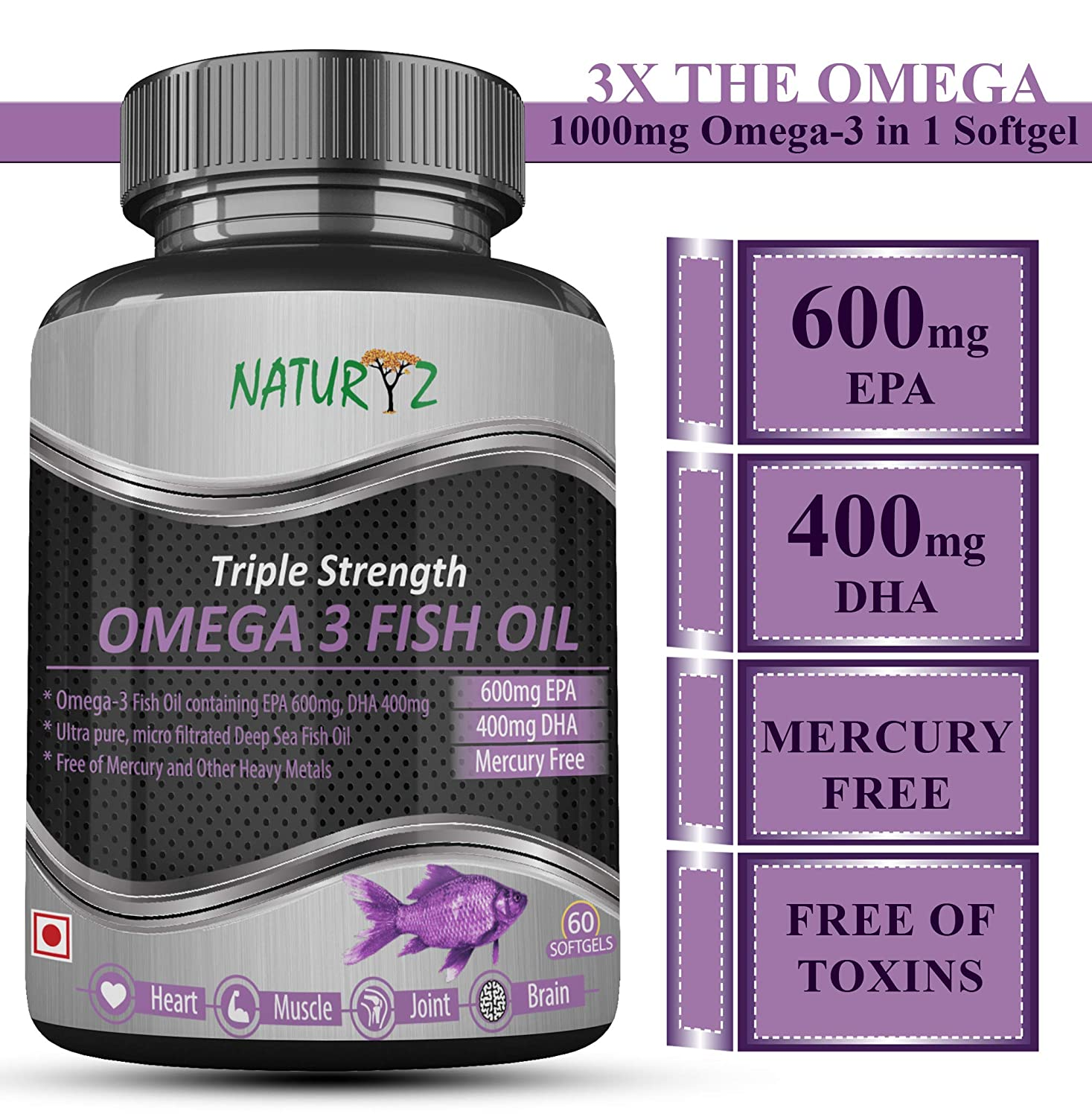 Naturyz Fish Oil 1400Mg (Triple Strength) With 1000Mg Omega