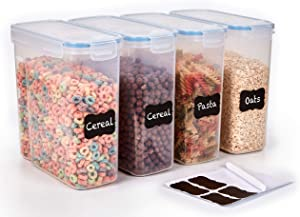 Cereal Container Storage Set of 4 - Airtight Food Storage Containers 4L (135.2oz) for Rice, Flour, & More - BPA Free Cereal Dispenser - Pantry Organization and storage - Labels & Pen included - K&L