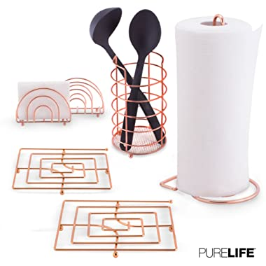 purelife ks-01 Utensil, Napkin Holder, Paper Towel, Trivet Double Coated Copper Fin Kitchen Set 6pc, Modern Accessories Collection for Countertop Table Decor