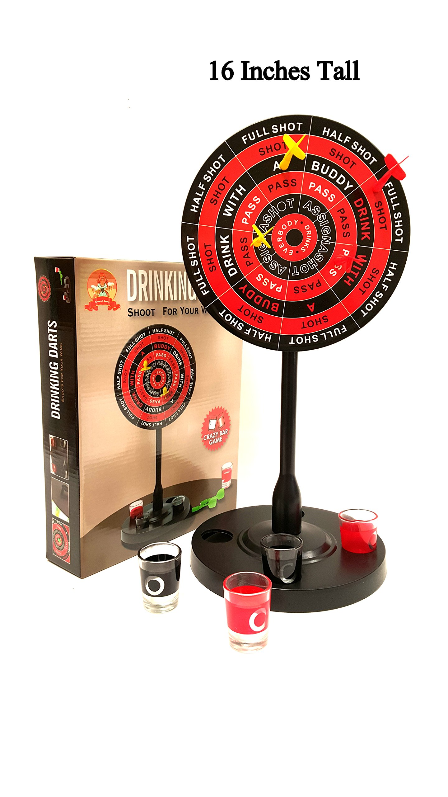 'Barwench Games' Shot Glass Drinking Darts Game, Large Edition 16'' Inches