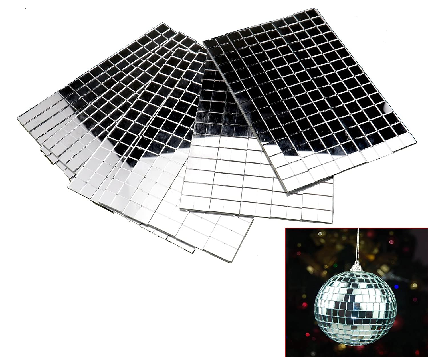 Self-Adhesive REAL Glass Craft Mini Square & Round Mirrors Mosaic Tiles 5 x 5mm Micro Trader