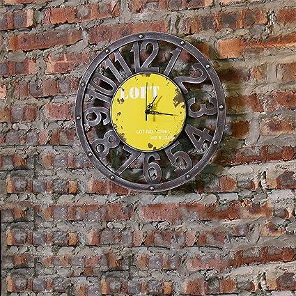 Yx Reloj de pared Retro Hotel Restaurante Occidental creativo Internet Tiendas Tea Shop Relojes colgantes de