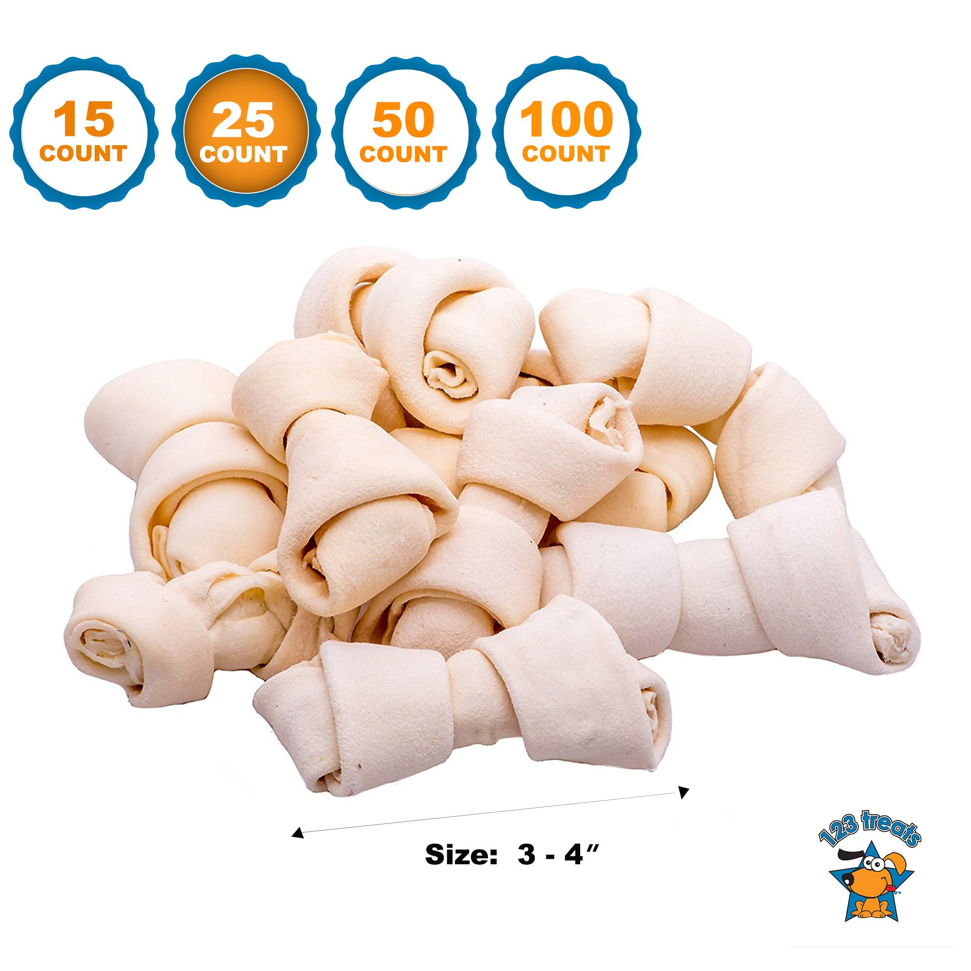 123 Treats | Rawhide Bones Chews 3-4'' (25 Count) Premium Rawhide Dog Bones | Free Range Grass Fed Cattle with No Hormones, Additives or Chemicals