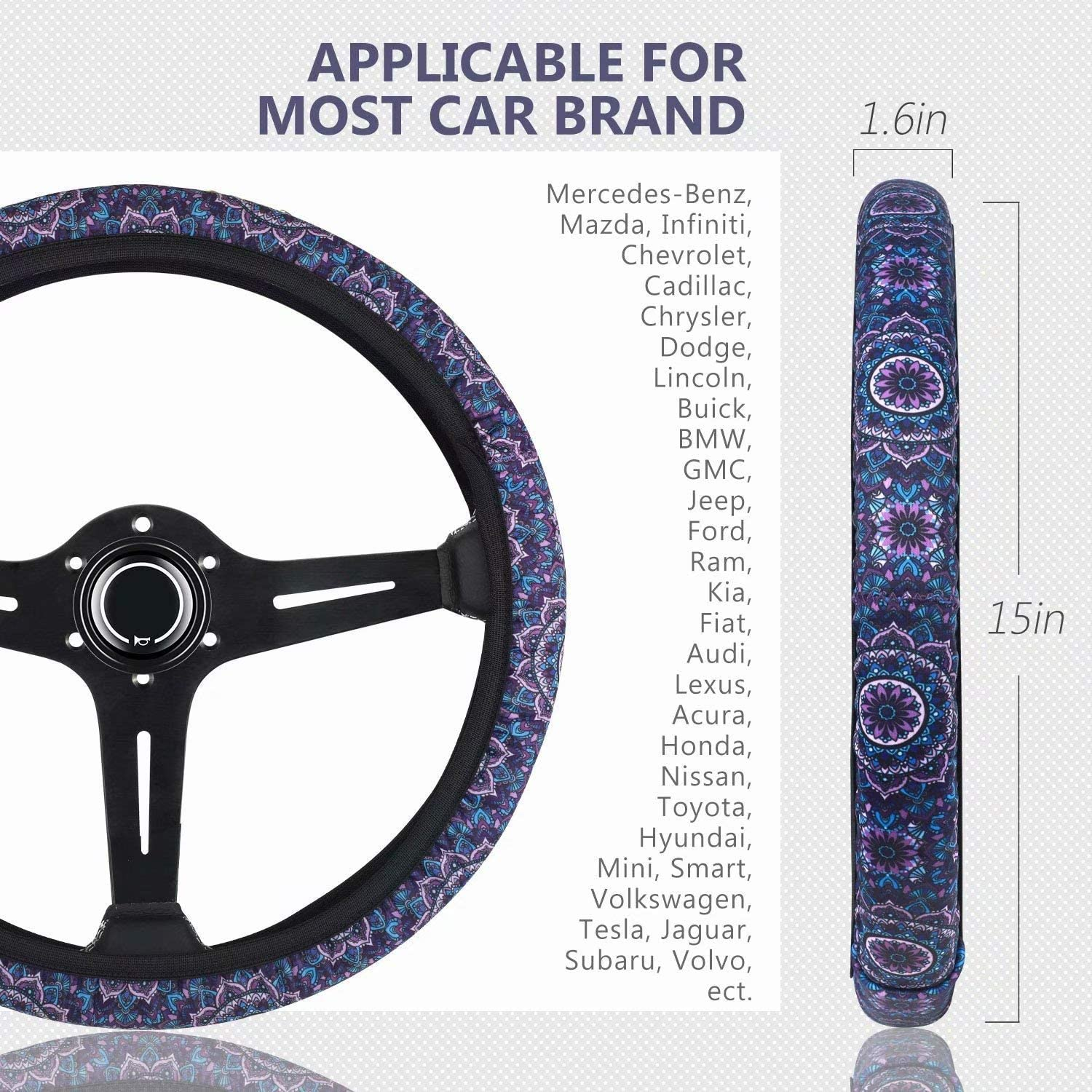 Tupalatus Steering Wheel Cover with Cute Alpaca Print Anti-Slip Neoprene Material Stretch-on Fabric Cover Universal Fit Fashionable Steering Wheel Car Accessories
